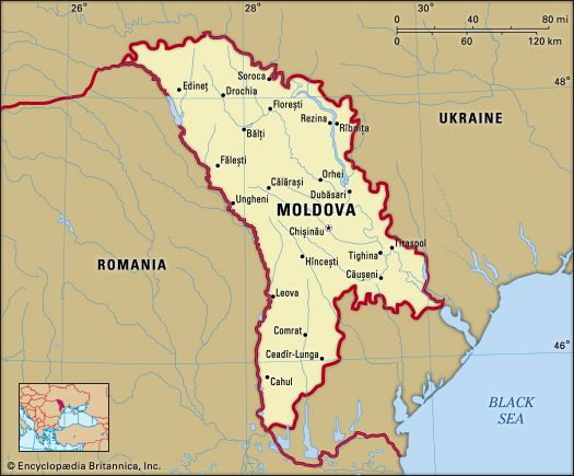 Moldova Political map boundaries cities Includes locator