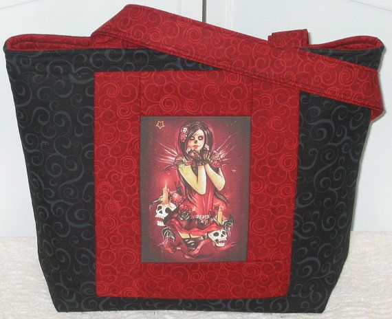 Day Of The Dead Pin Up Girl Medium Tote Bag by Mokadesigntotes, $36.00