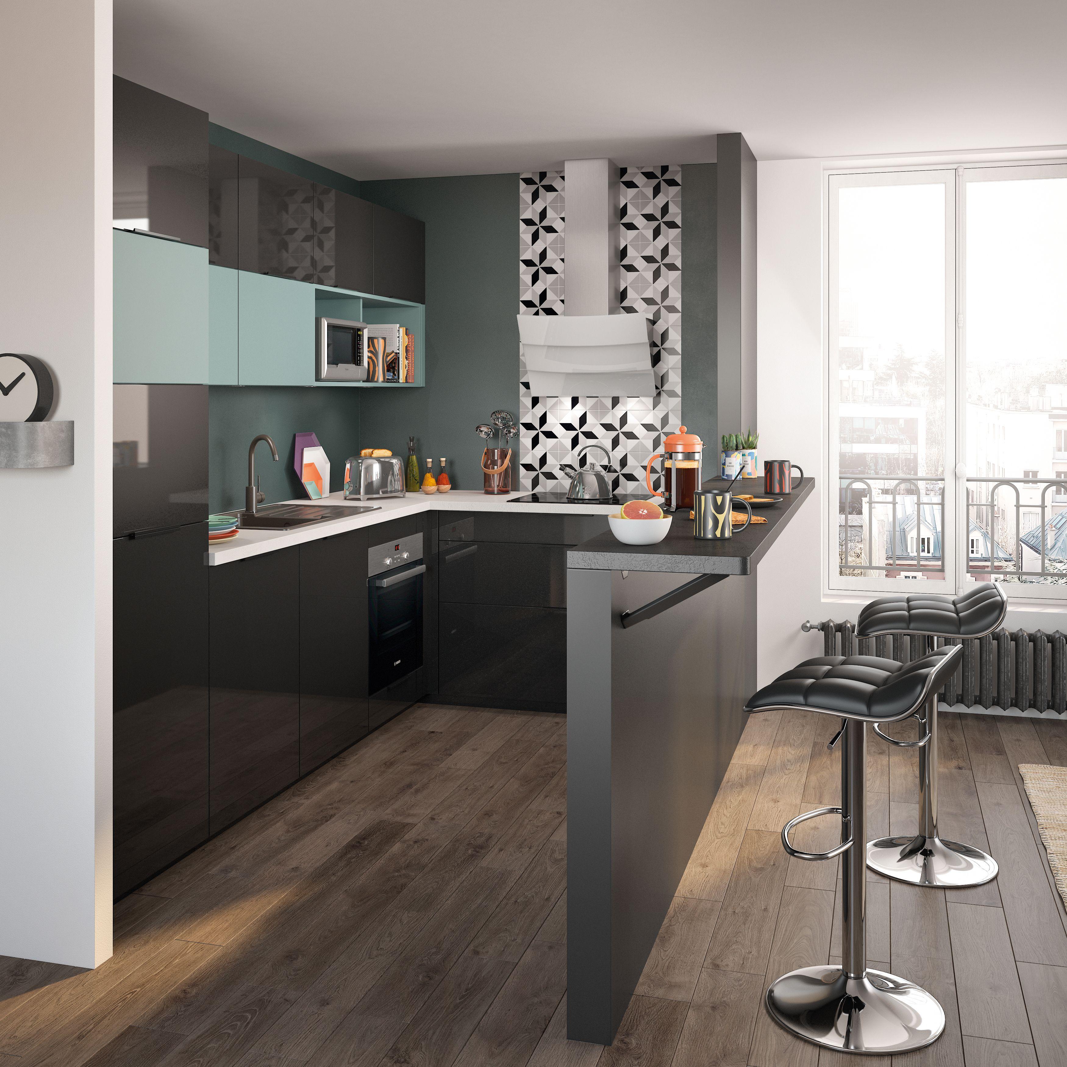 Optimum basilic salons de cuisine cuisine petit espace - Cuisine ouverte sur salon avec bar ...
