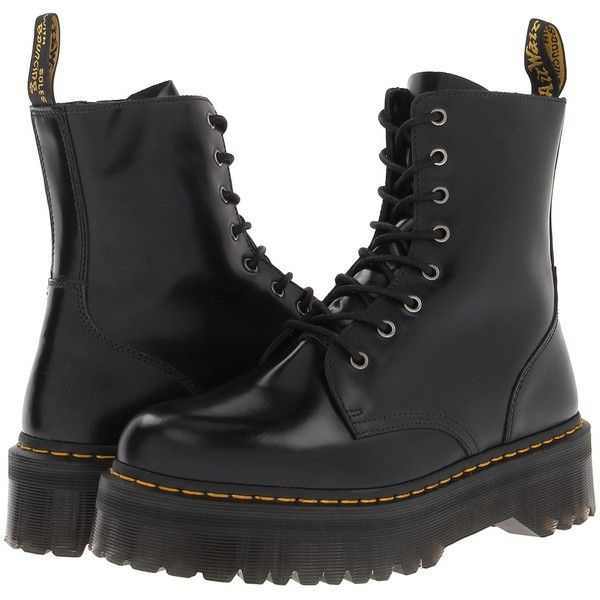 Dr. Martens Jadon 8-Eye Boot Lace-up Boots (1 450 SEK) ❤ liked on Polyvore featuring shoes, boots, black, ankle boots, short lace up boots, zipper boots, lace-up platform boots, lace up platform bootie and bootie boots