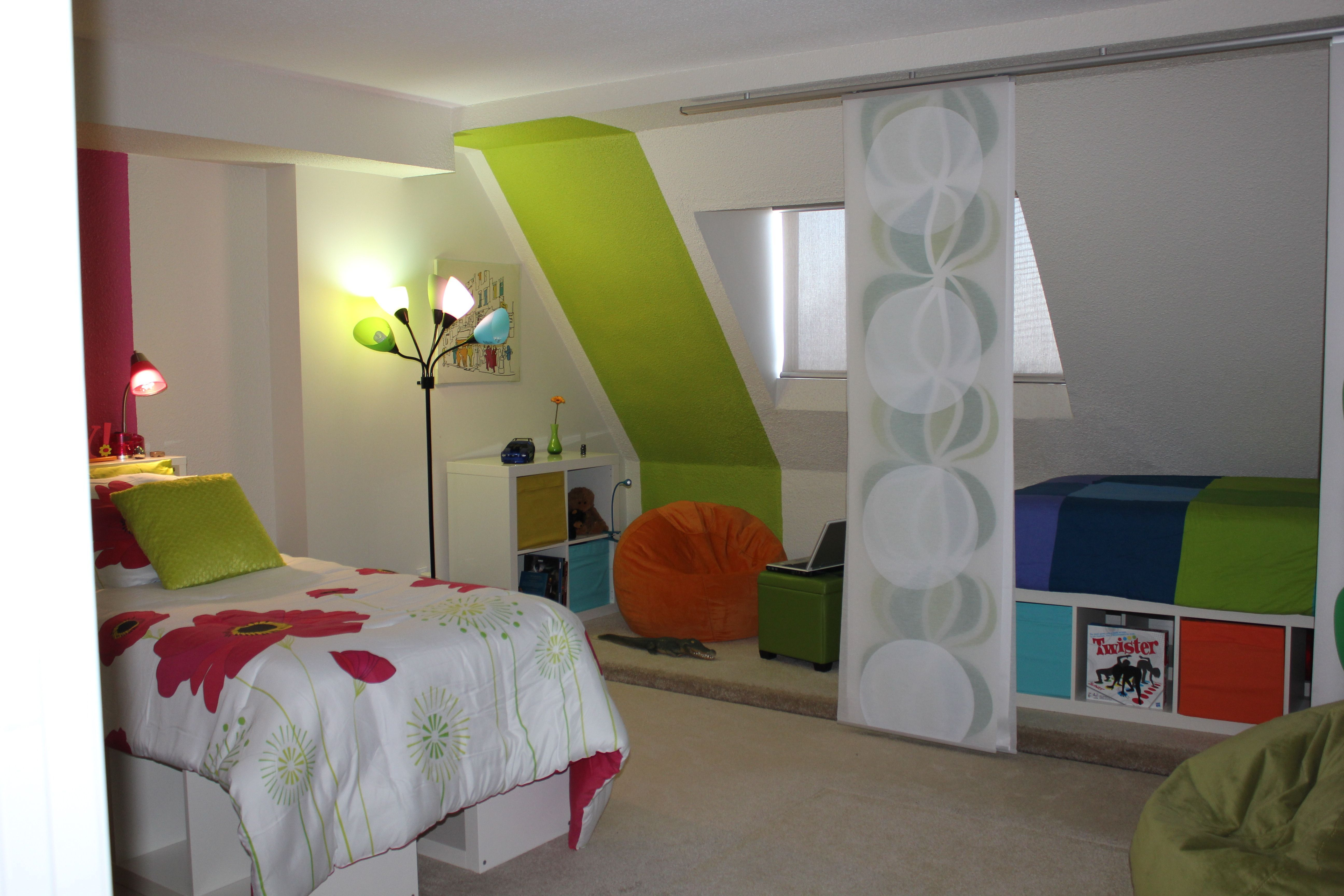 Shared bedroom room dividers panel curtains roomdivideronwheels