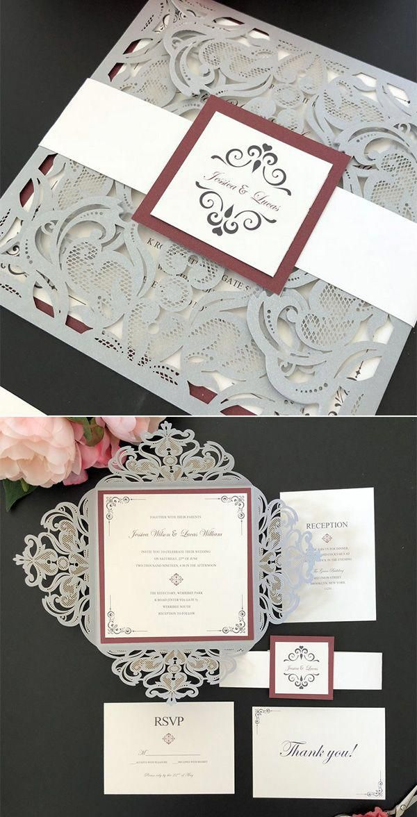 burgundy and silver laser cut elegant wedding invitations