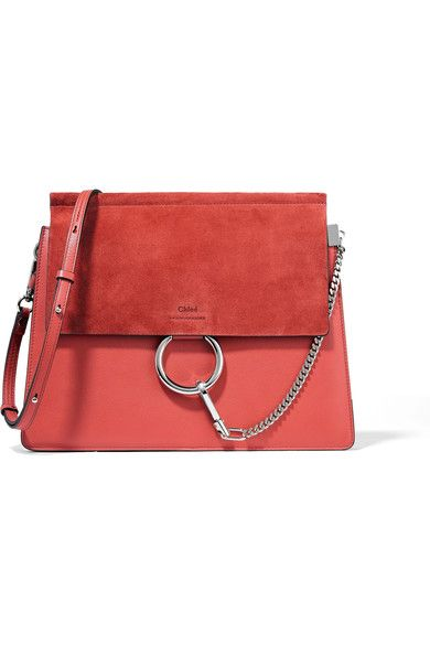 064c098dc94b Chloé - Faye Medium Leather And Suede Shoulder Bag - Tomato red ...