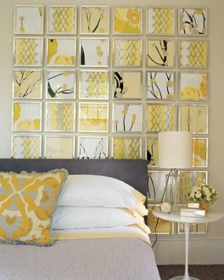 This muted yellow blends with gray to create a calm room. The art ...