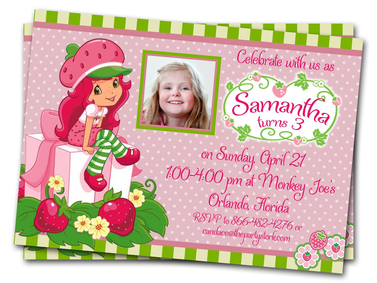 Strawberry shortcake birthday invitations girls invitation with strawberry shortcake birthday invitations girls invitation with photo other printable party supplies and invites filmwisefo Gallery