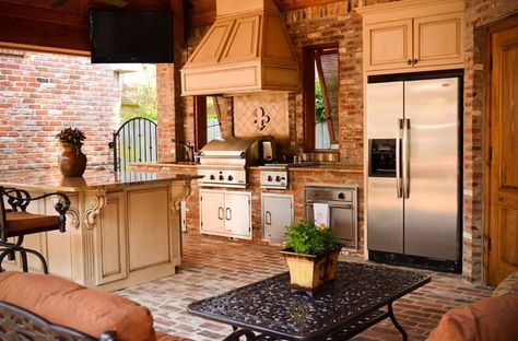 Brick Refrigerator Grill Island Outdoor Kitchen Angelo S Lawn Scape Of Louisiana Inc Baton Rouge La