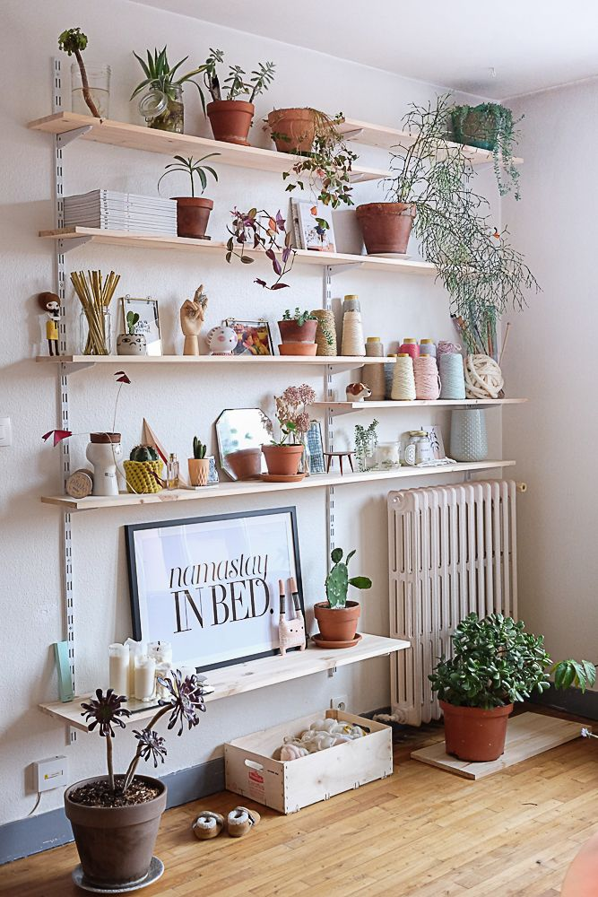 Merveilleux Living Room Wall Shelves Design With Mall Plants