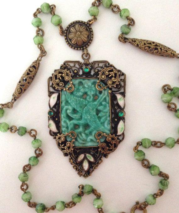 Neiger Czech Necklace Filigree Peking Glass by WhirleyShirley