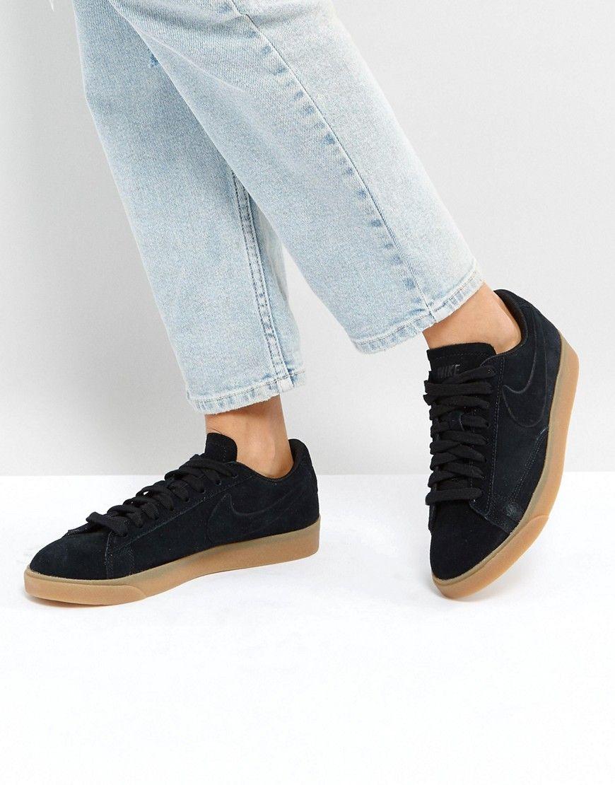 Zapatillas de deporte en ante negro con suela de goma Blazer de Nike 8h6ibG0AP