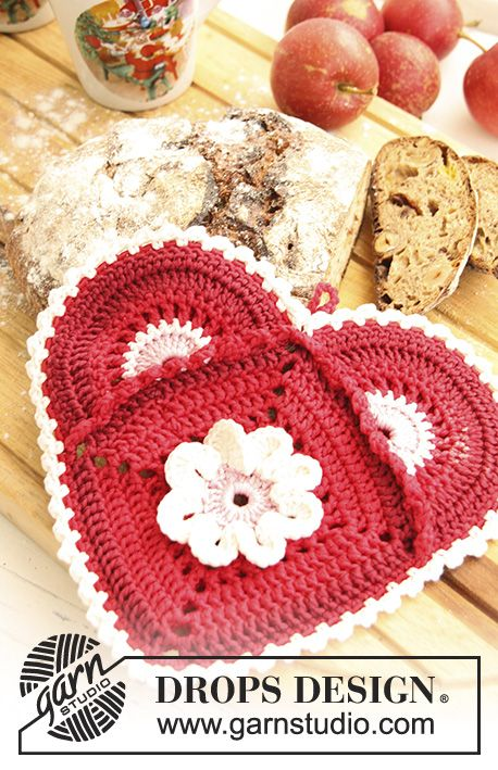 Crochet Heart Potholder In Drops Muskat Theme Christmas Valentines Crochet Crochet Crochet Patterns