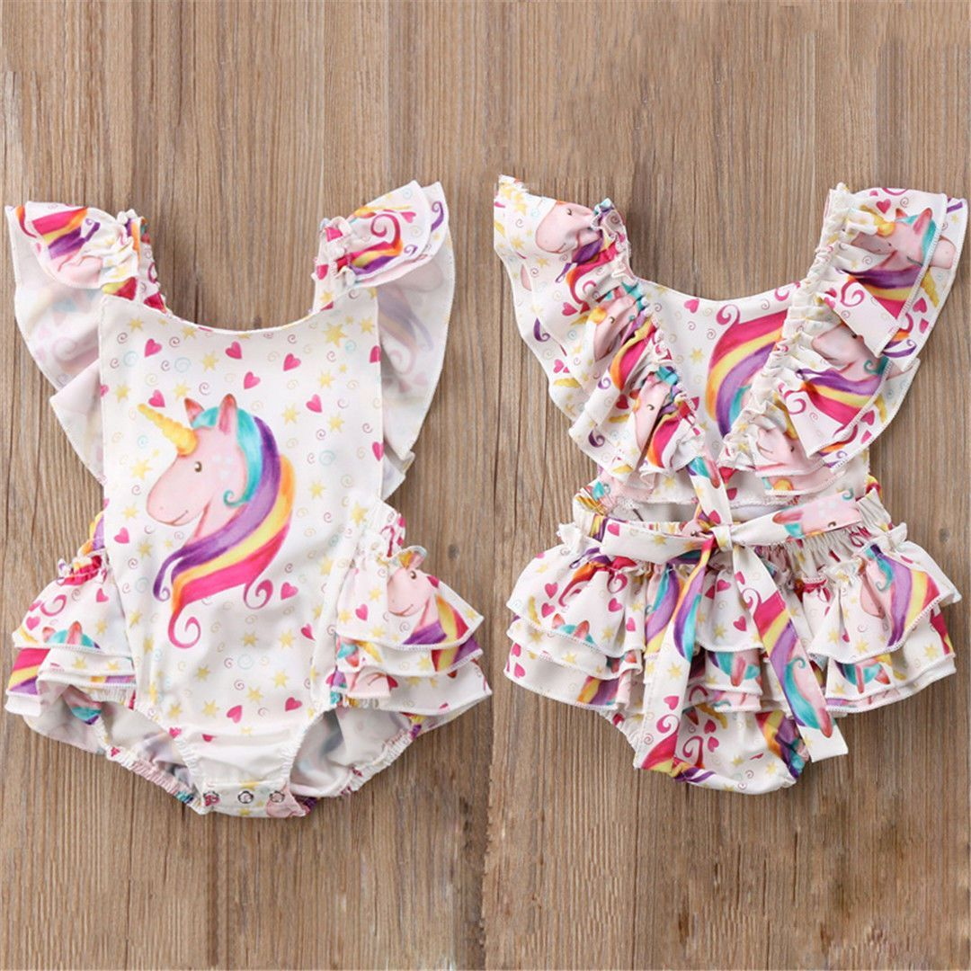 UK Newborn Kids Baby Girl Romper Ruffle Backless Jumpsuit Bodysuit Outfit Summer