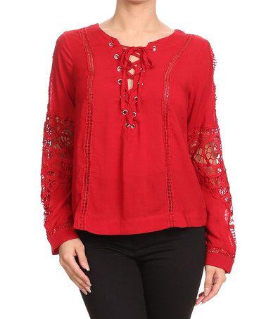 Red Lace-Sleeve Top #zulily #zulilyfinds