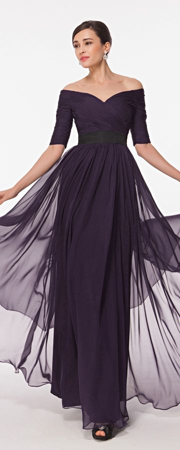 Modest Dark Purple Mother Of The Bride Dress With Sleeves Mother