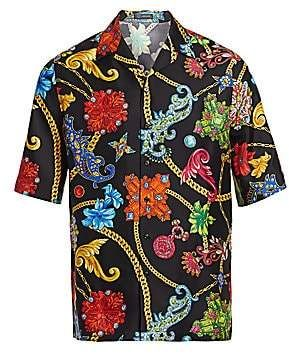 6d386f00 Versace Men's Floral Silk Short-Sleeve Shirt in 2019 | Products ...
