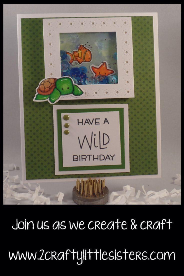 Stampingbella under the sea creatures shaker birthday card crafts
