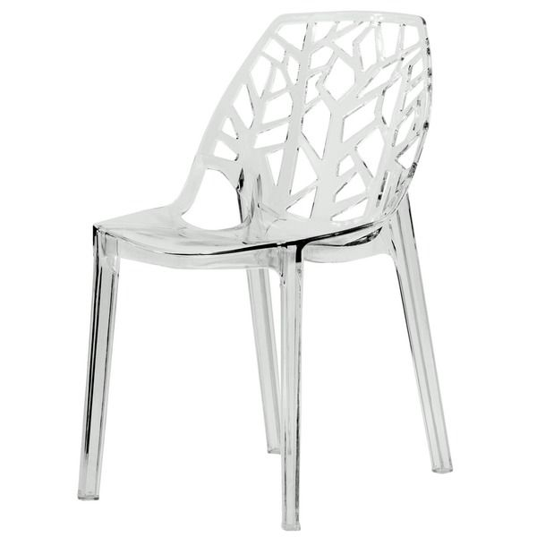 Clear Kitchen Chairs: Modern Flora Clear Cut-out Transparent Plastic Dining