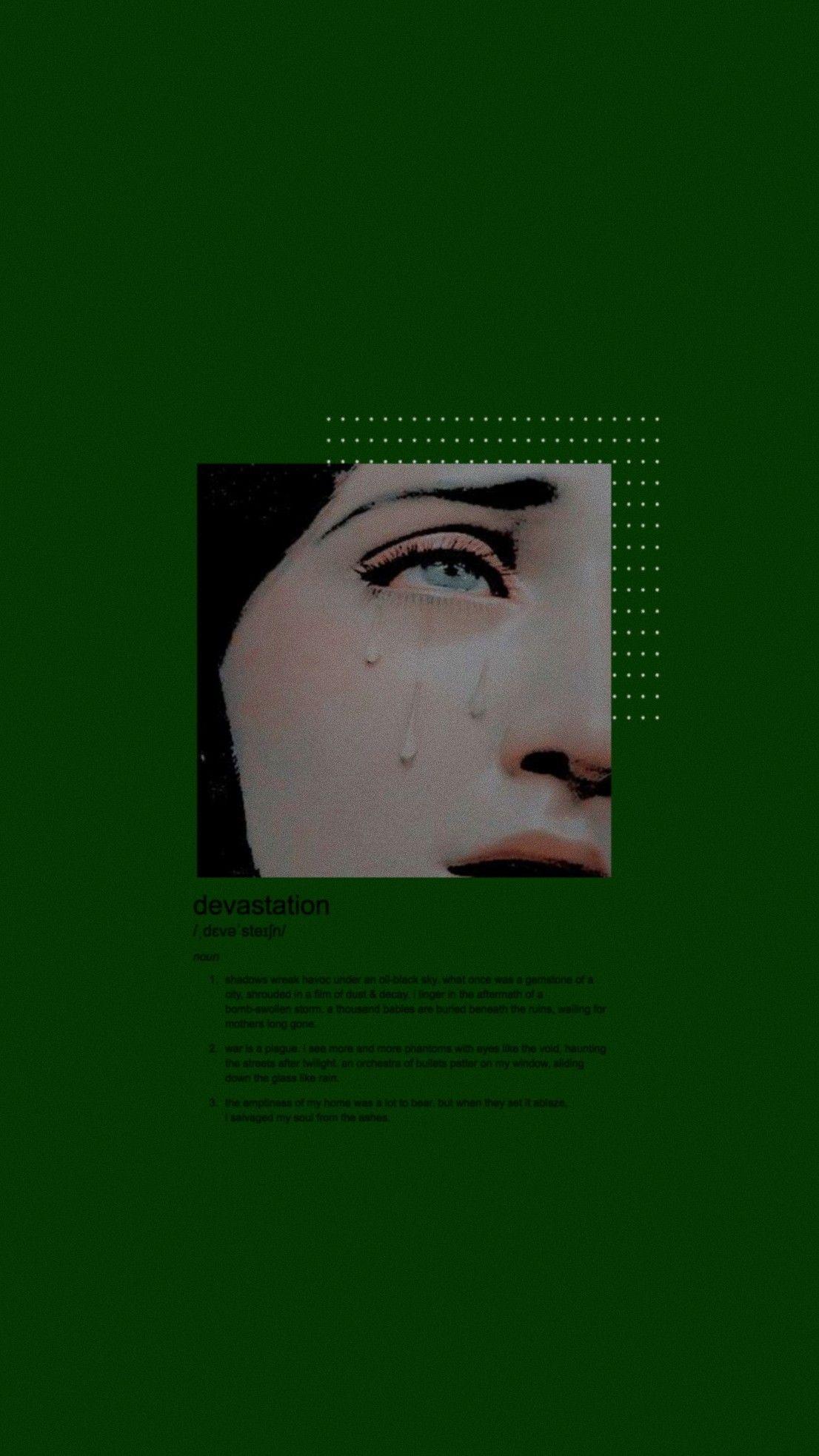 Lockscreen Green Devastation Aesthetic Iphone Wallpaper