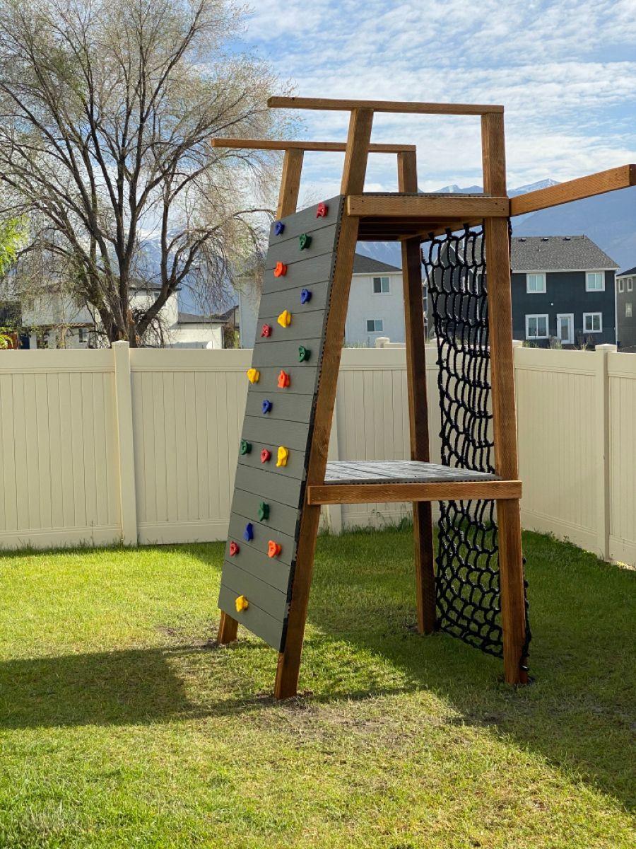 Diy Kids Climbing Wall And Platform In 2021 Playground Backyard Diy Play Area Backyard Kids Backyard Playground Backyard diy playground ideas