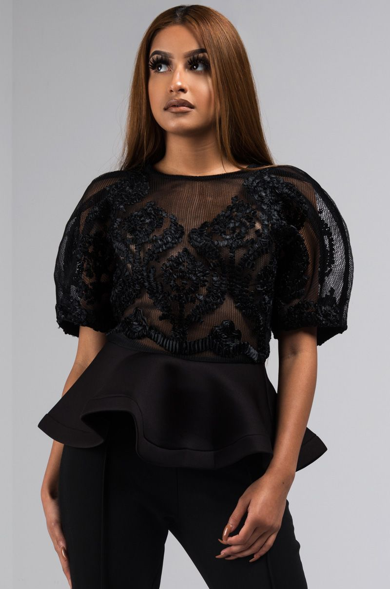 035717c53e9 The AKIRA Label Memorable Times Puff Sleeve Embroidered Peplum Top is a  romantic going out blouse that your wardrobe needs. A mesh embroidered  bodice is ...