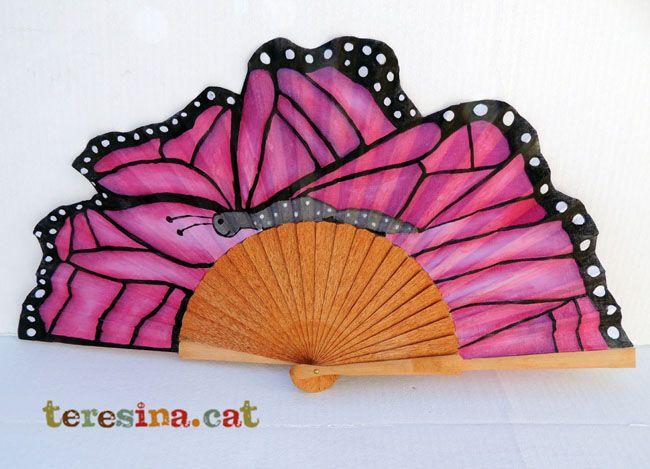 Abanico mariposa pintado a mano abanicos pinterest - Abanicos pintados a mano originales ...