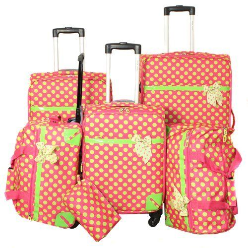All-Season Polka Dot Delight 6-piece Lightweight Spinner Luggage ...