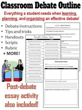 This outline is designed to help teachers organize effective inquiry-based classroom debates. The documents within this file gives students a step-by-step outline of what they need to include in their debate, what they need to say, and when they need to say it!This activity can be completed in any subject area that requires a comprehensive review into a particular topic.