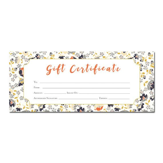 Floral print, Blank Gift Certificate, Premade, Gift Certificate