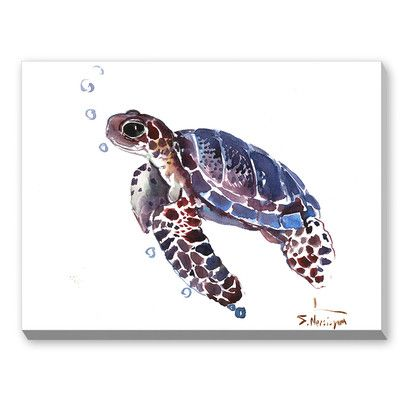 Tortoise Framed Watercolor Painting Print On Canvas In Blue Brown