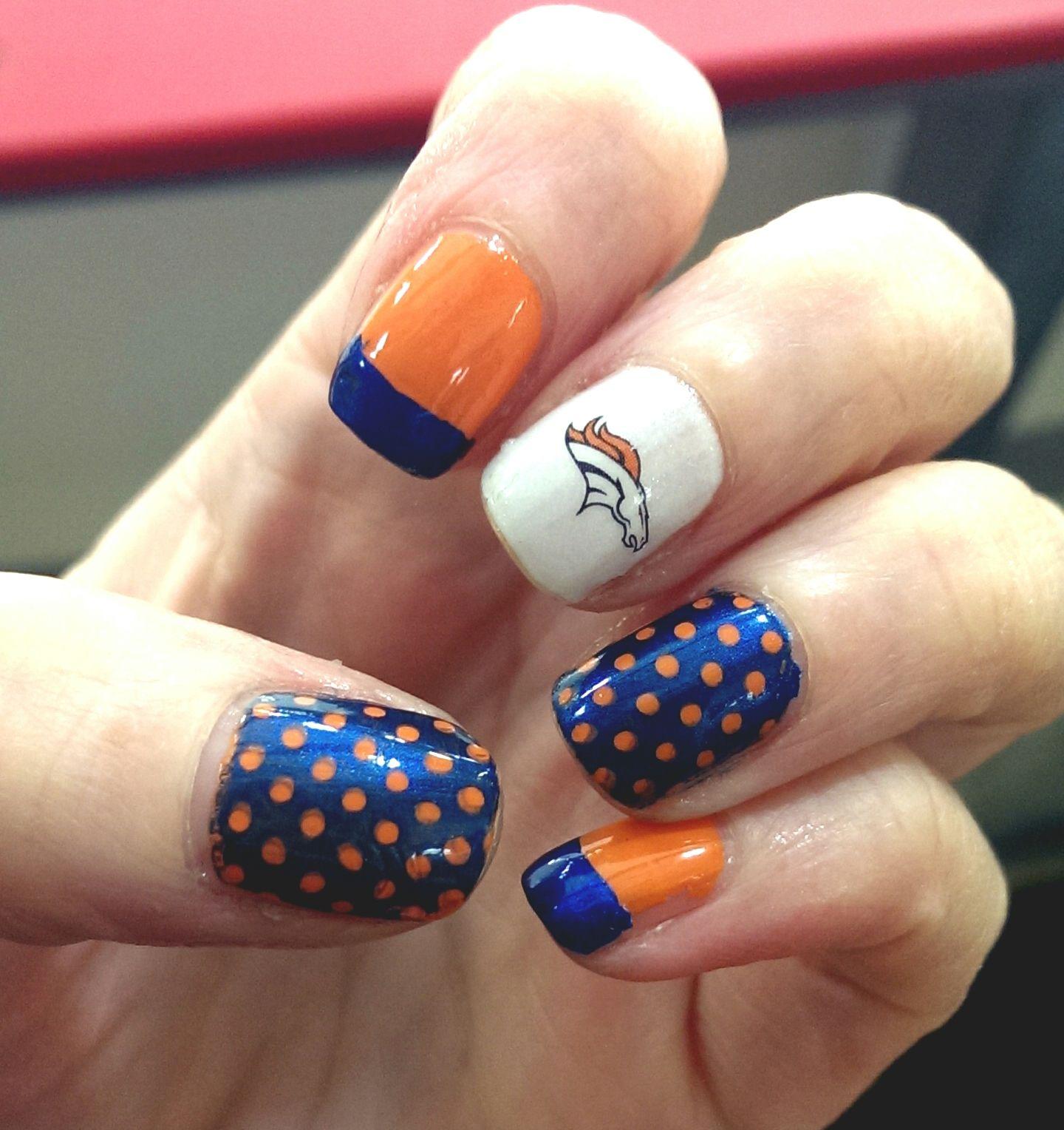 Denver Broncos nail art #superbowl | denver broncos football ...