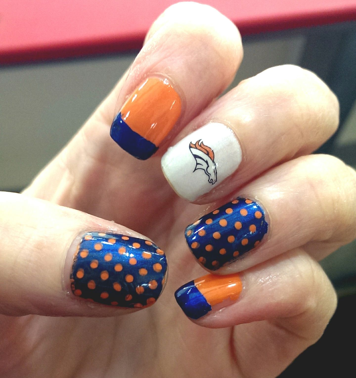 Denver Broncos nail art #superbowl - Denver Broncos Nail Art #superbowl NAILS....NAILS Pinterest