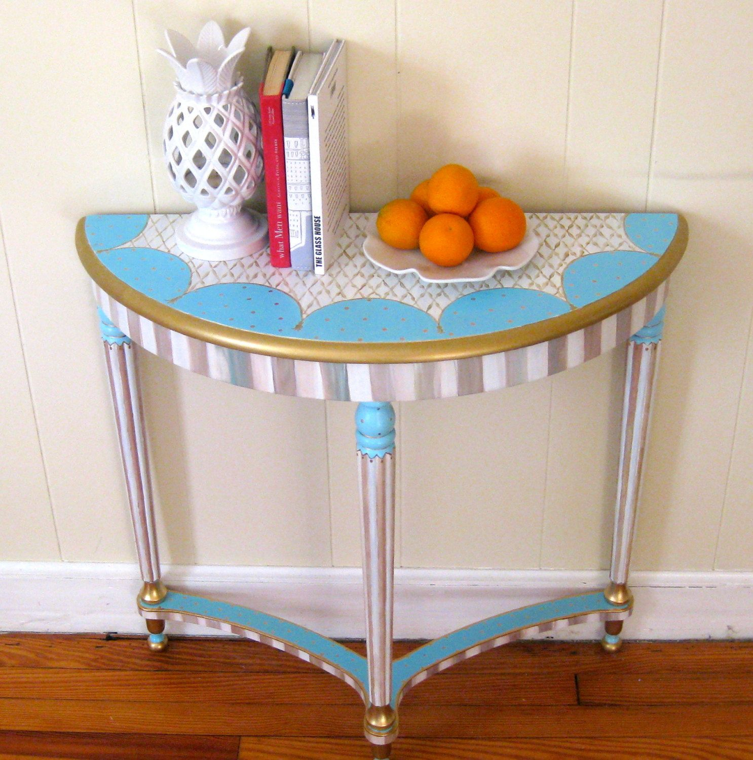 Hand painted whimsical half round table colors etsy