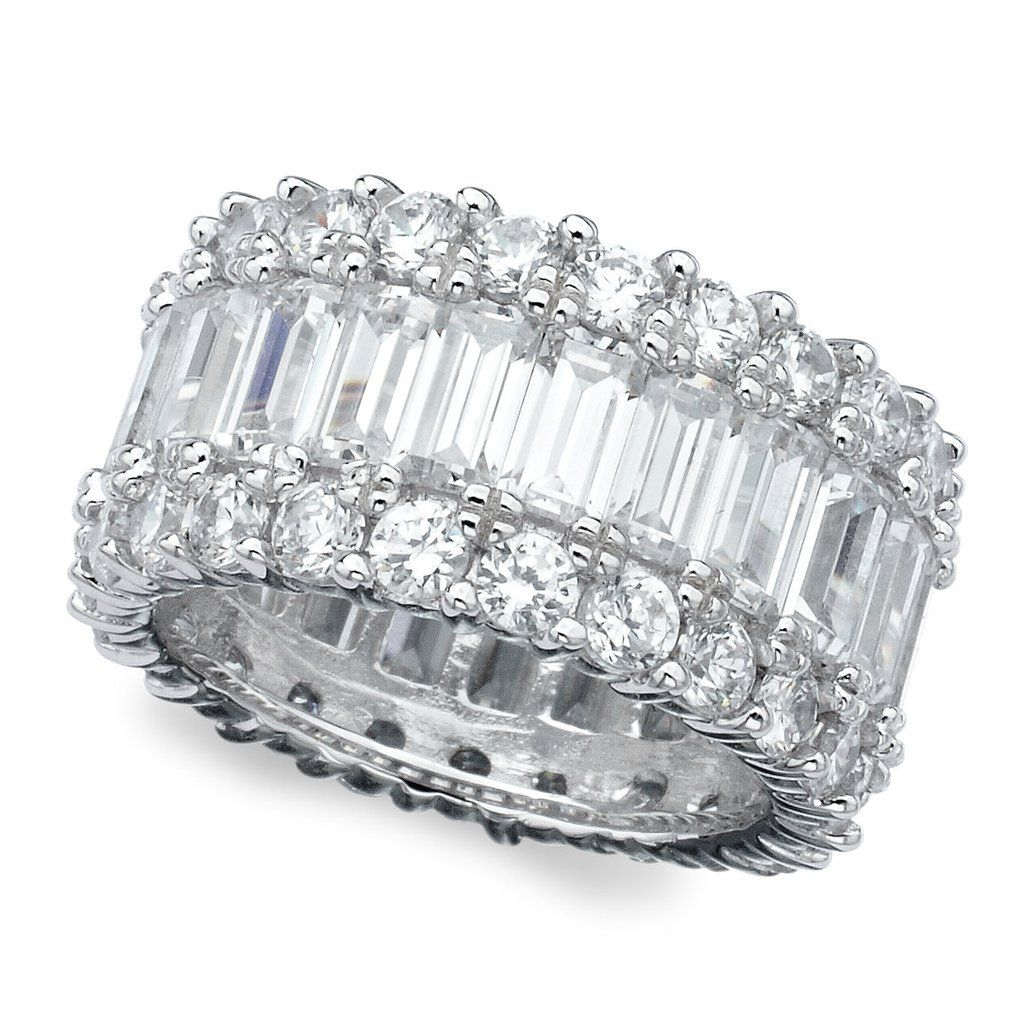 Platinum over Sterling Silver Emerald Cut Cubic Zirconia Eternity Ring