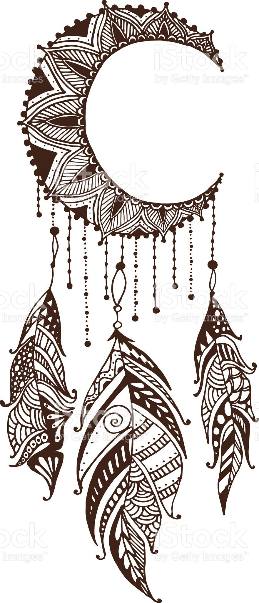 Hand Drawn Dreamcatcher With Feathers Ethnic Illustration