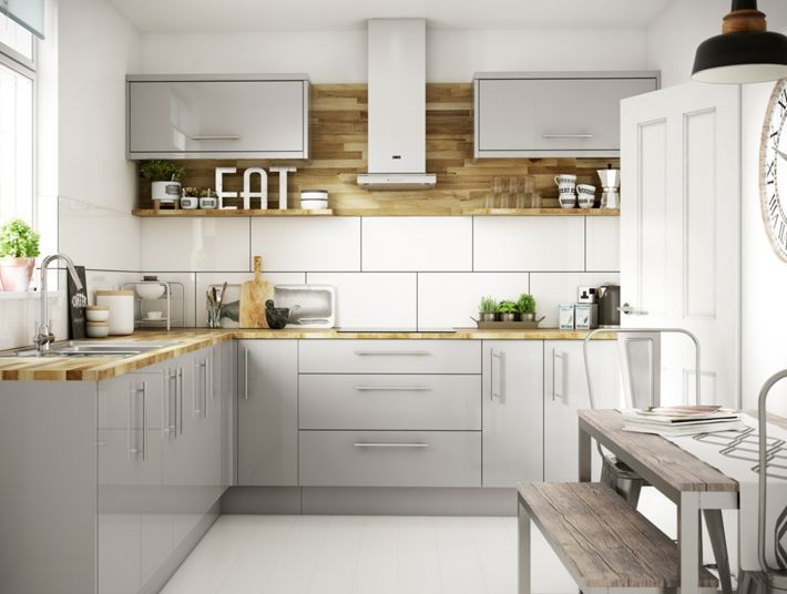 orlando grey gloss kitchen wickescouk - Kitchen