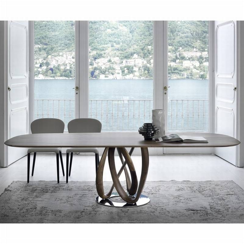 Porada Infinity Wood Dining Tables Oval Elliptical Top Dining