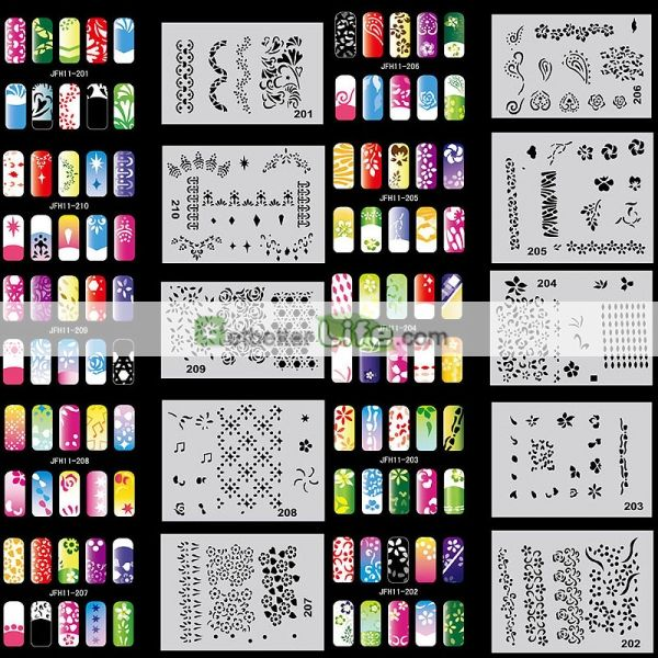 US$18.26 - Beautiful Design Airbrush Nail Art Paint Stencil Kit ...