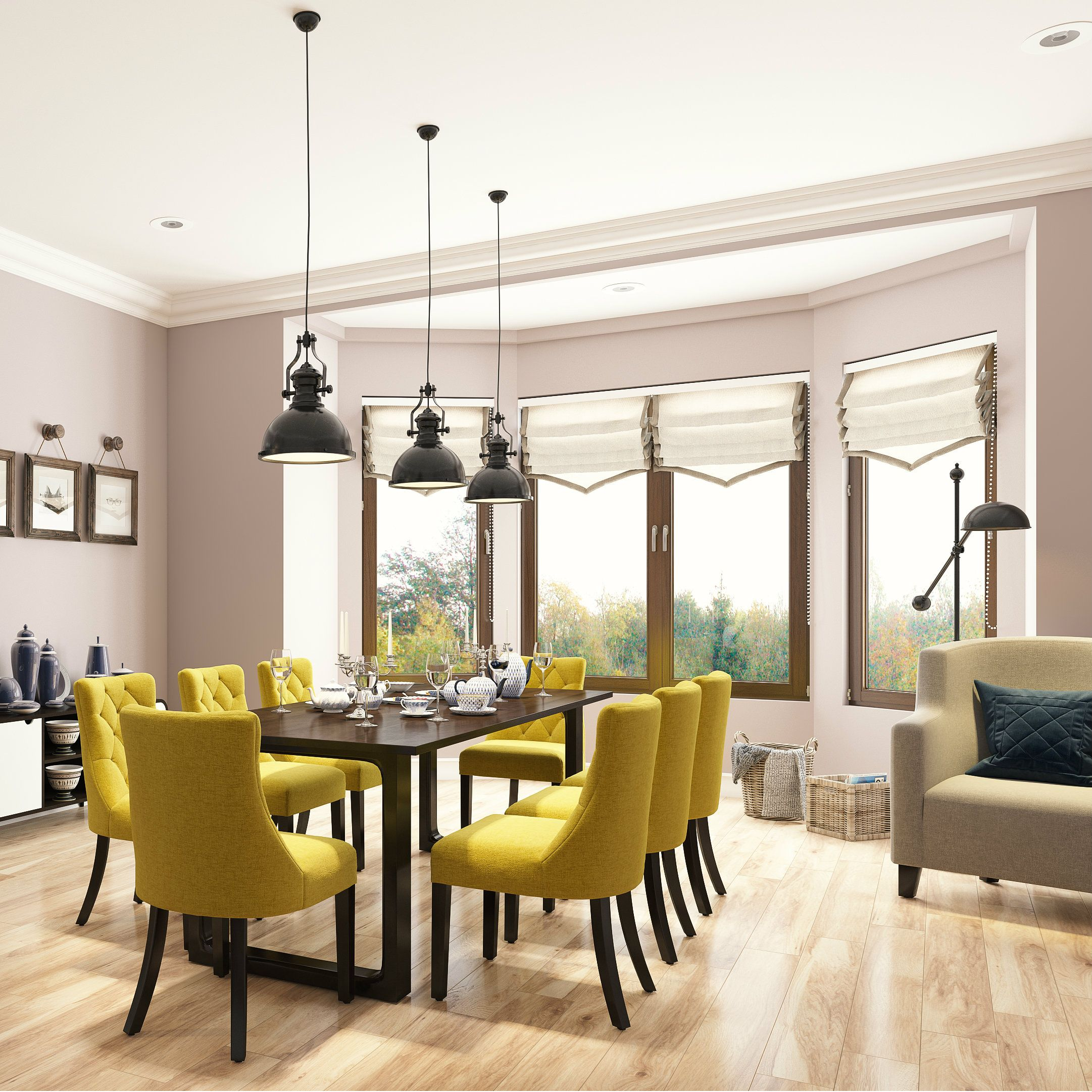 A Neutral Dining Room Contrasted With Mustard Yellow Dining Chairs Yellow Dining Chairs Dining Room Colors Colored Dining Chairs