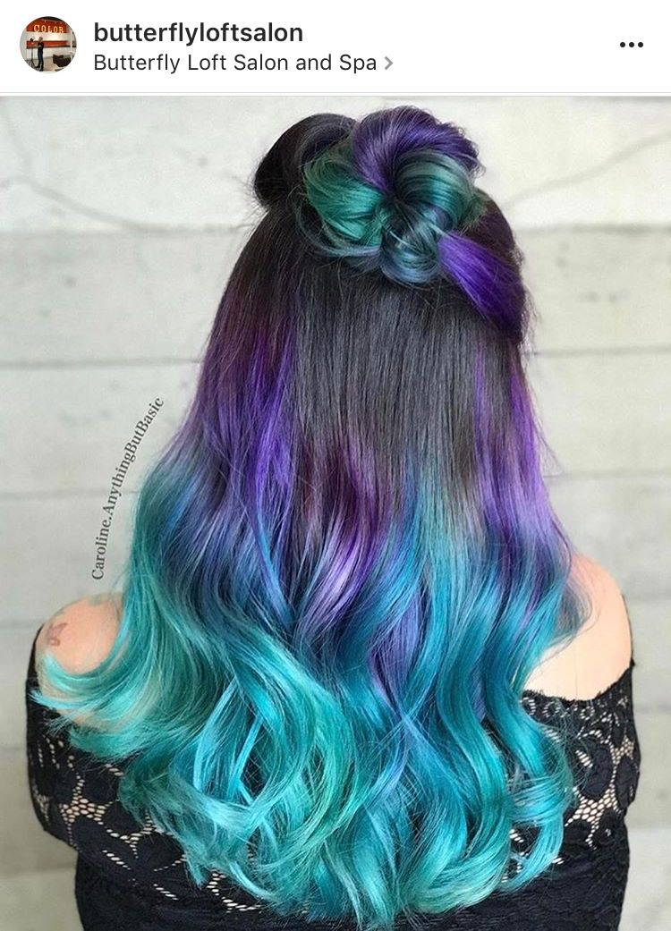 Brown Hair With Purple To Turquoise Ombre Ends Colored Hair Ends