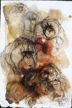 Orang Utan Composite Pamela Conder.  Shellac and ink