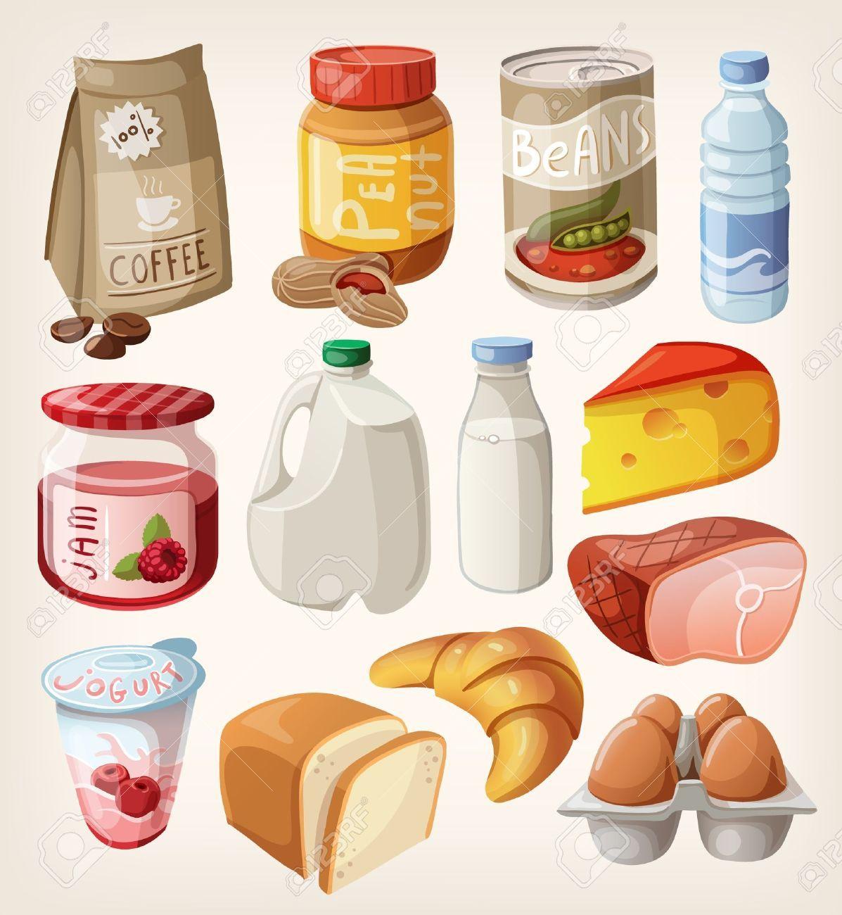 Collection de nourriture et de produits que nous achetons ou de manger tous les jours