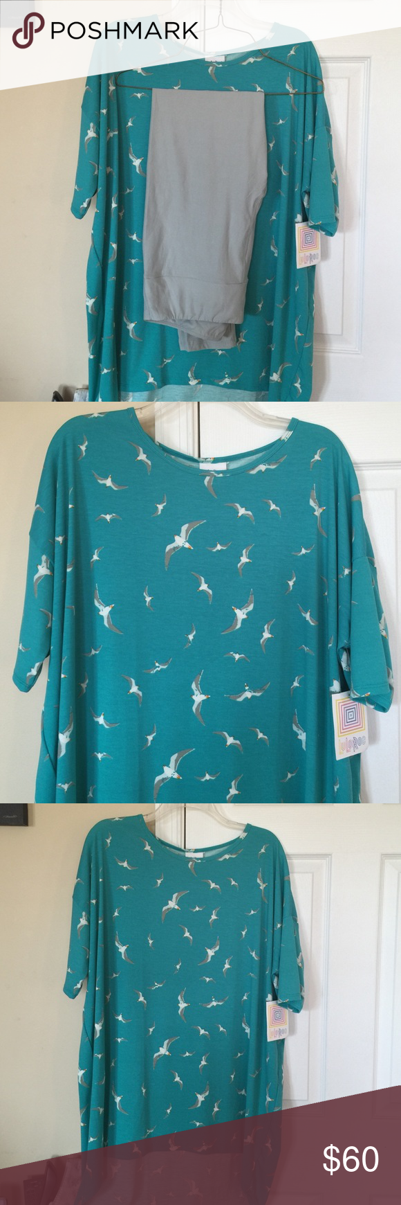 Lularoe Seagull Irma and TC grey leggings Selling this beautiful collection as a set! Irma shirt size lg(guess I need to buy xl) and TC grey leggings! Cute outfit! Just too snug on me and I won't wear it if it's too snug! 😉🤐leggings are new in package too! Took out to try on and for picture purposes! LuLaRoe Pants Leggings