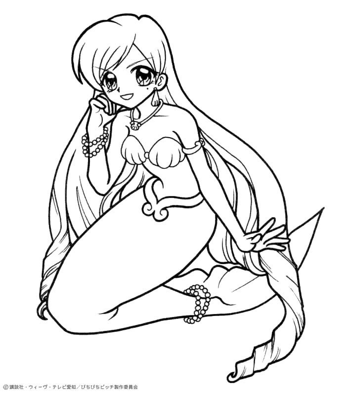 Printable Anime Mermaid Coloring Pages Tone