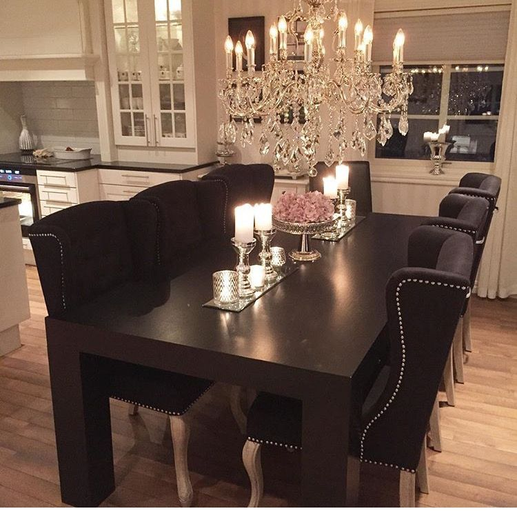Pin By Dora Pap On Kitchen Decor Dining Room Table Decor Home Decor Black And White Dining Room