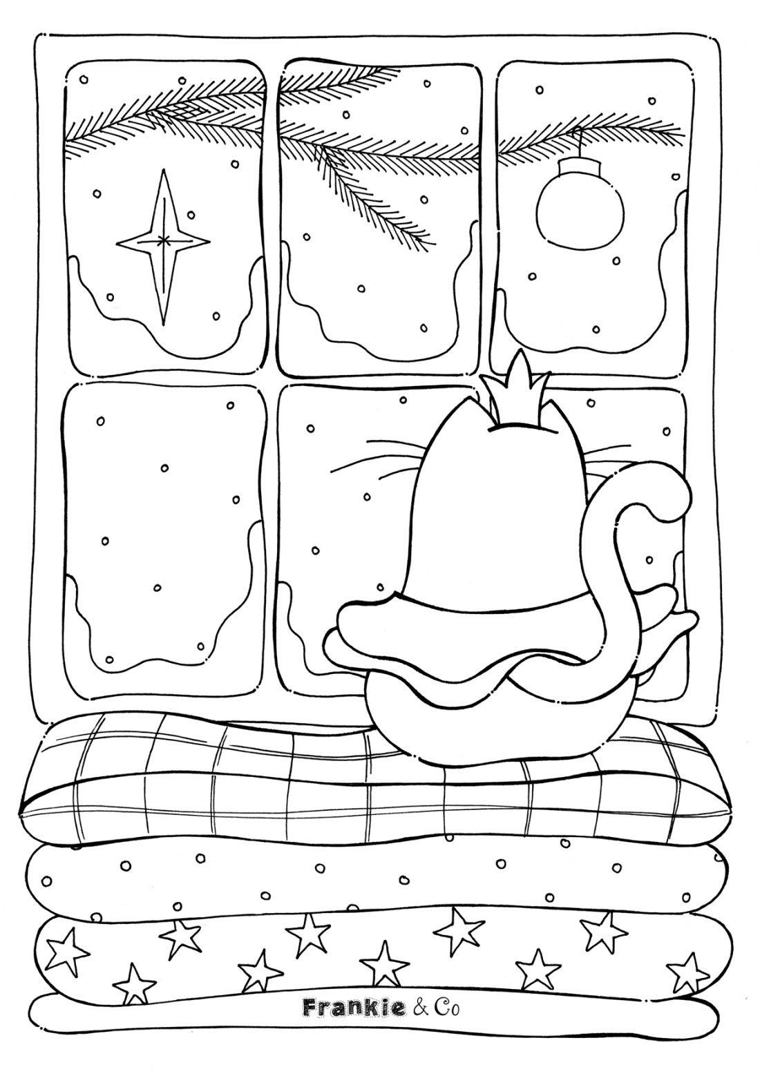 Gratis Kleurplaat Kerst Kat Free Coloring Page Christmas
