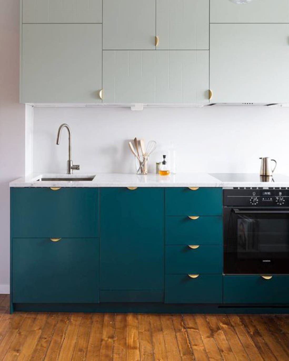 The Kitchen Cabinet Color I M Obsessed With In 2020 Kitchen Cabinets Color Combination Teal Kitchen Cabinets Modern Kitchen Design