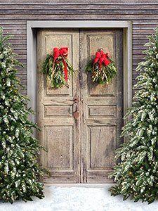 Photo Backdrop Cp7717 Old Christmas Door Christmas Backdrops Photo Backdrop Christmas Door Backdrops