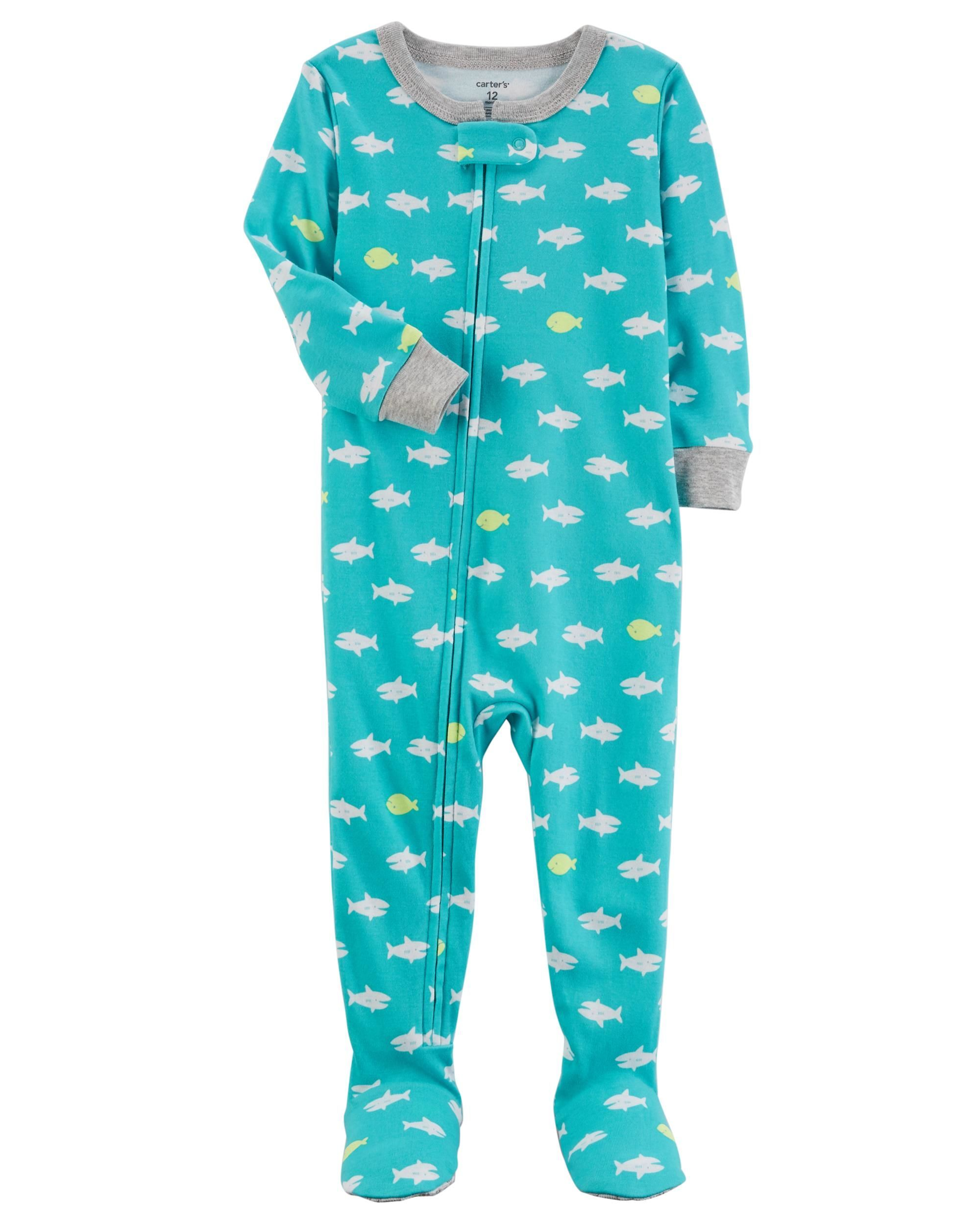 fb0074c0a3f9 1-Piece Neon Fish Snug Fit Cotton PJs