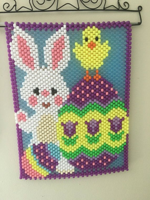 Easter themed beaded banner wall hanging