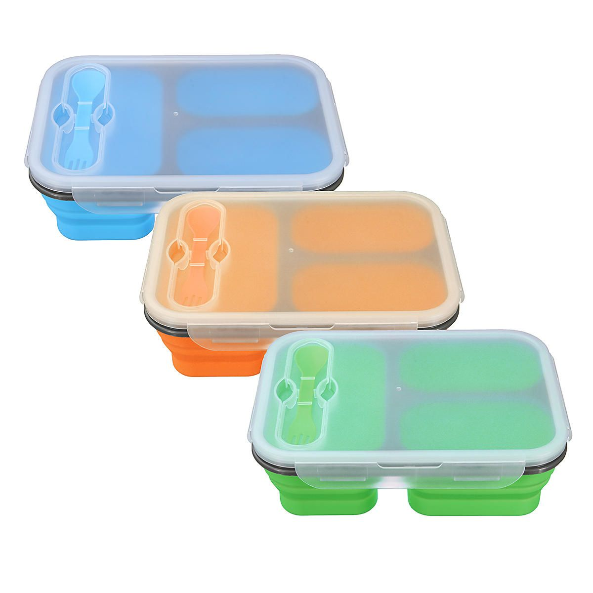 IPRee™ 1100ML Outdoor Silicone Collapsible Portable Box Bowl Folding Food  Storage Container