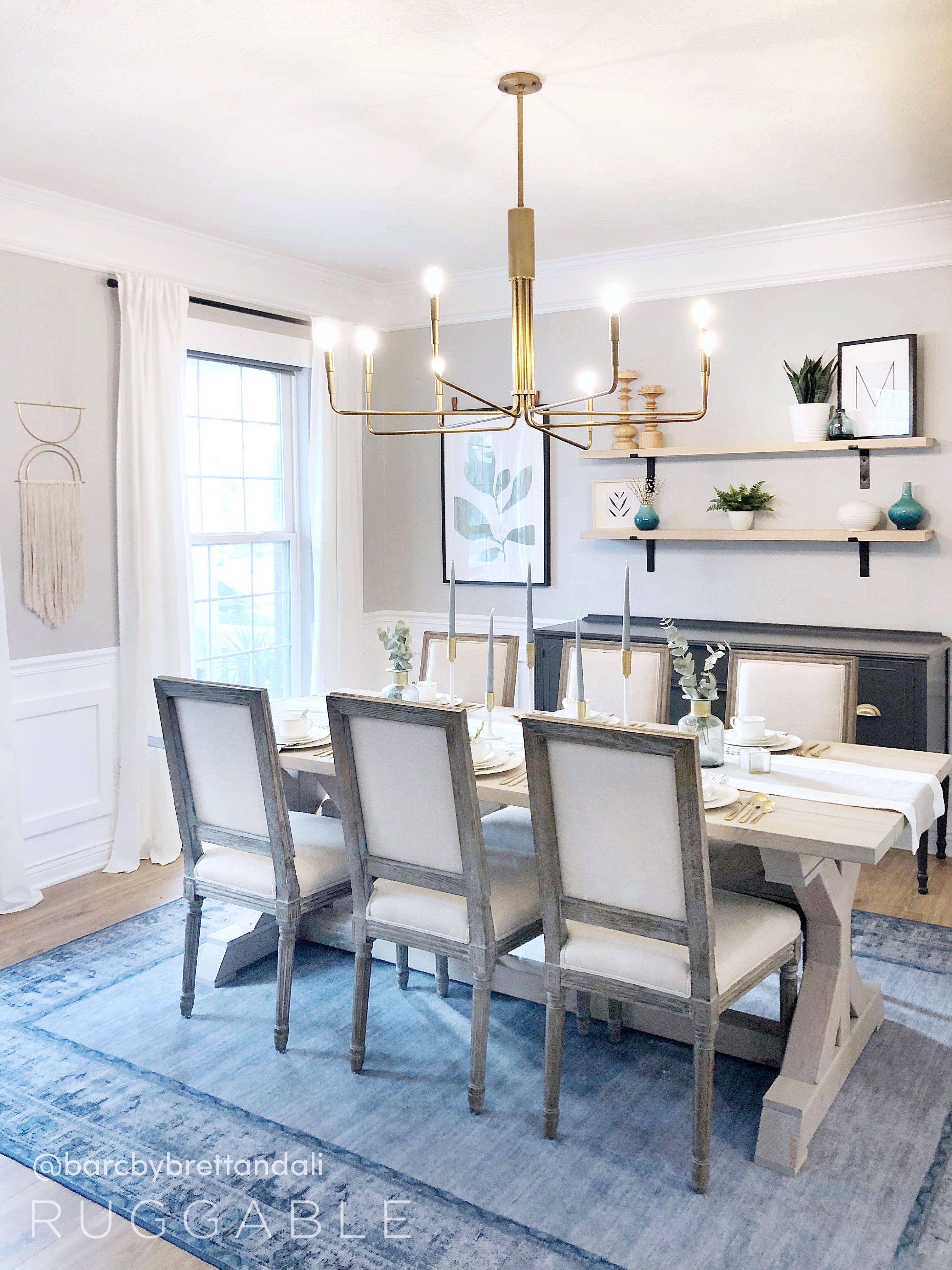 Vintage Daisy Bordered Blue Washable Rug Blue Rugs Living Room Dining Room Blue Dining Room Rug